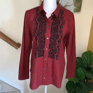 J. Crew Gali red plaid embroidered button down 12